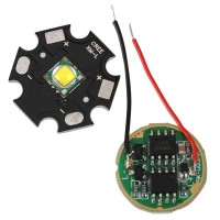 White CREE XML T6 LED Emitter on 20mm Alumnium Base with Power Supply
