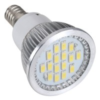 16 SMD LED Light Lamp AC220V Amusement Light LED Bulb E14 With Cover-White