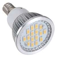 16 SMD LED Light Lamp AC220V Amusement LED Bulb E14 With Cover-Warm White