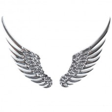 Wing Shaped Alloy Car Sticker Car Decoration Sticker Silver