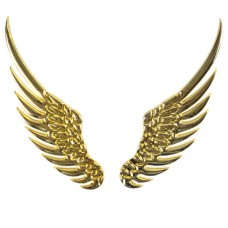 Wing Shaped Alloy Car Sticker Car Decoration Sticker Gold