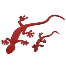 Wall Lizard King Shaped Alloy Car Sticker Car Decoration Sticker Red