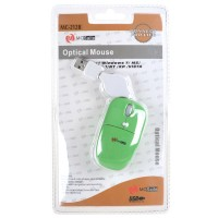 MC Saite Optical Mouse with Retractable Cable Green