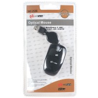 MC Saite Optical Mouse with Retractable Cable Black