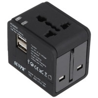 Suvpr Universal Travel Adapter Dual USB Charger 250VAC 6A Max