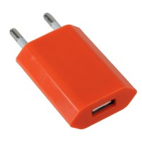 EU Standard AC Travel Charger Power Adapter with USB Port-Orange