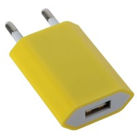 EU Standard AC Travel Charger Power Adapter with USB Port-Yellow