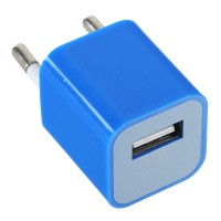 100-240V 1A 3G Power Adapter Plug Travel Adapter with USB Port-Blue