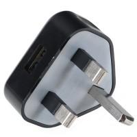BS British Standard AC Power Travel Adapter Plug with USB Port-Black