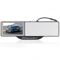 Bluetooth Rearview Mirror + 5.0 Touchscreen LCD GPS Navigator with AV Input 4GB  TF Card