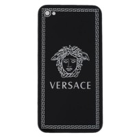 Chrome Hard Case Back Cover with Versace Portrait  for iphone 4g 4s-Black