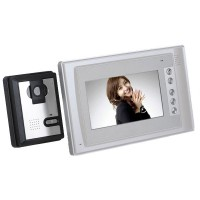 "7"" Color TFT LCD 4-Line Video Door Phone One Indoor Unit with Two Outdoor Unit"