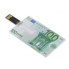 Euro Cash 100 Design Credit Card Sized USB Flash Driver -4GB
