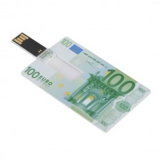 Euro Cash 100 Design Credit Card Sized USB Flash Driver -8GB