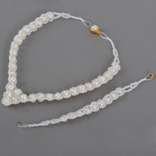 White Pearl Necklace Bracelets Set Elegant Jewelry