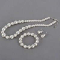 White Pearl Necklace Bracelets Earrings Set Jewelry