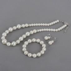 White Pearl Necklace Bracelets Earrings Set Jewelry