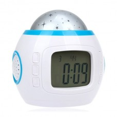 Music and Colored Starry Sky LED Alarm with Perpetual Calendar Thermometer