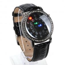 Fashion Digital Blue LED Light Time Date Week Rubber Band Wrist Watch Gift