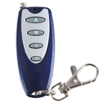 Universal Wireless 4 Buttons Metal Remote Controller with Keychain Key Ring Blue