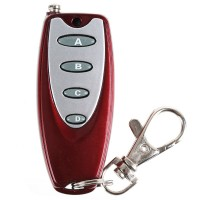 Universal Wireless 4 Buttons Metal Remote Controller with Keychain Key Ring Red