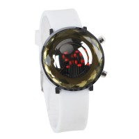 Jelly Digital Mirror Unisex Silicone Sports Candy LED Watches - White