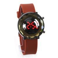 Jelly Digital Mirror Unisex Silicone Sports Candy LED Watches - Brown