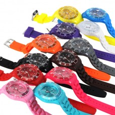 ICE Style Plastic Watch Multi-Color Watch Jelly Candy Quartz Silicone Gift Wristwatch with Calender