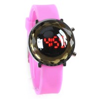 Jelly Digital Mirror Unisex Silicone Sports Candy LED Watches - Pink
