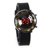 Jelly Digital Mirror Unisex Silicone Sports Candy LED Watches - Black