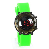Jelly Digital Mirror Unisex Silicone Sports Candy LED Watches - Green