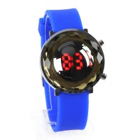 Jelly Digital Mirror Unisex Silicone Sports Candy LED Watches - Deep Blue