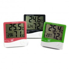 Digital LCD Temperature & Humidity Meter with Clock HTC-1 H596