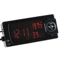4-in-1 Vehicle Car Thermometer Hygrometer Radio Digital Clock Calendar