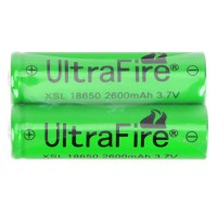 2pcs Ultrafire 18650 2600mAh 3.7V Rechargeable Battery