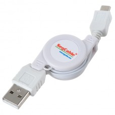 USB 2.0 to Micro 5 Pin Retractable Extension Cable for SAMSUNG White