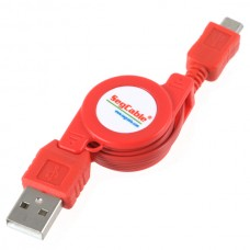 USB 2.0 to Micro 5 Pin Retractable Extension Cable for SAMSUNG Red