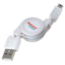 USB 2.0 to Mini 5 Pin Retractable Cable for MP3 Camera Cellphone White