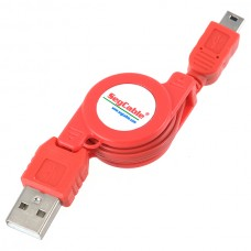 USB 2.0 to Mini 5 Pin Retractable Cable for MP3 Camera Cellphone Red