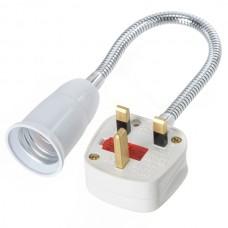E27 to UK Power Plug Flexible Lamp Bulb Holder Socket Adapter Converter 30cm