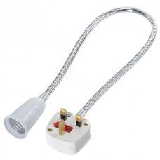 E27 to UK Power Plug Flexible Lamp Bulb Holder Socket Adapter Converter 60cm