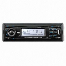 STC-7001U Flip-Down Panel Car Mp3 Player with USB/SD Card/AUX Inputs and FM Radio (Black Panel/Blue Light)