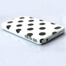 Cute Chrome Hard Case Back Cover for iphone 4g 4s-White with Black Dot