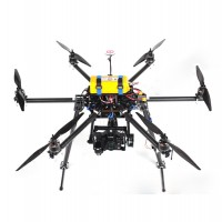 SkyKnight X6-850 Carbon Fiber FPV Hexacopter Multicopter Frame Kit w/ Zenmuse Z15/AV200 Mounting Bracket