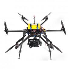 SkyKnight X6-850 Carbon Fiber FPV Hexacopter Multicopter Frame Kit w/ Zenmuse Z15/AV200 Mounting Bracket