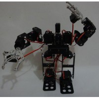 15DOF Biped Robotic Educational Robot Mount Kit +2pcs Alloy Clamp Claw + 15pcs Metal Servo Horn)