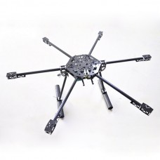 CF-800 Carbon Fiber FPV Hexacopter Hex Folding Multicopter Aircraft w/ CF Landing Skid Set for FPV Aerial Photography
