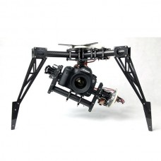FPV 3-Axis Camera Gimbal PTZ with MKS 360 deg Servo & Skyline Gypo+Landing Skid for Aerial Photography Octacopter/RC Helicopter