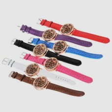 A449 Leopard Grain Crystal Leopardo Lady Fashion Woman Wrist Watch 7Colors