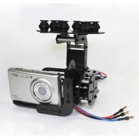 Carbon Fiber Two Axis FPV Sunnysky 2216 Brushless Camera Gimbal Mount PTZ Kit w/ 8pcs Rubber Ball Plate f/ Multicopter